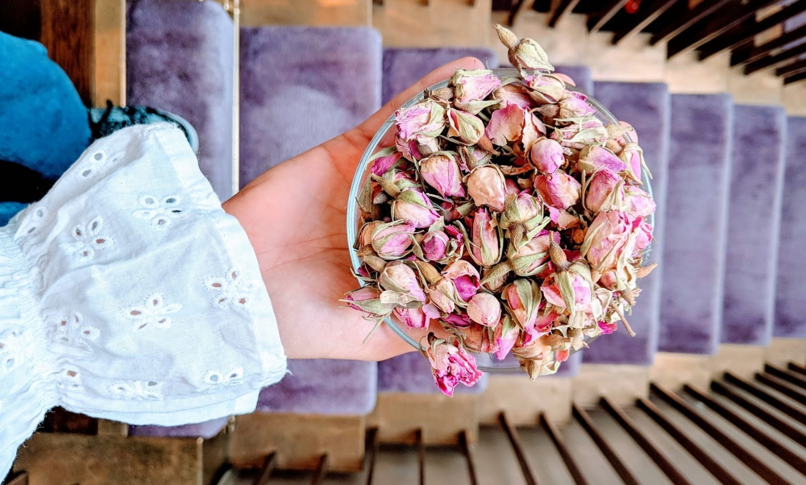 Rose bud tea at Gazelli House, house of wellbeing in South Kensington London