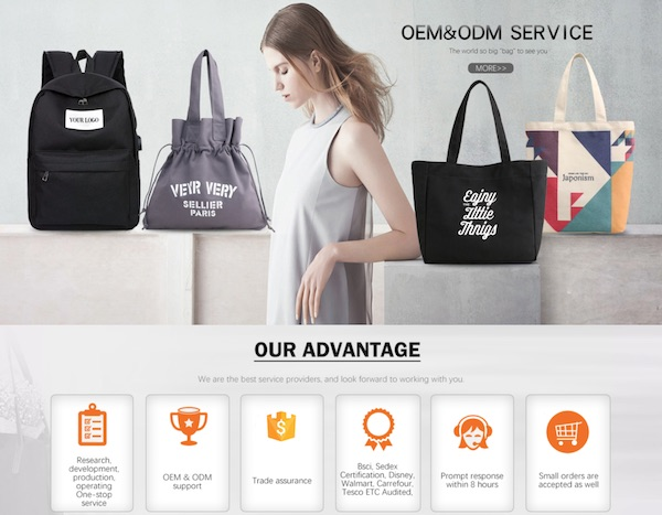Screenshot of a bag manufacturer's homepage on Alibaba.com