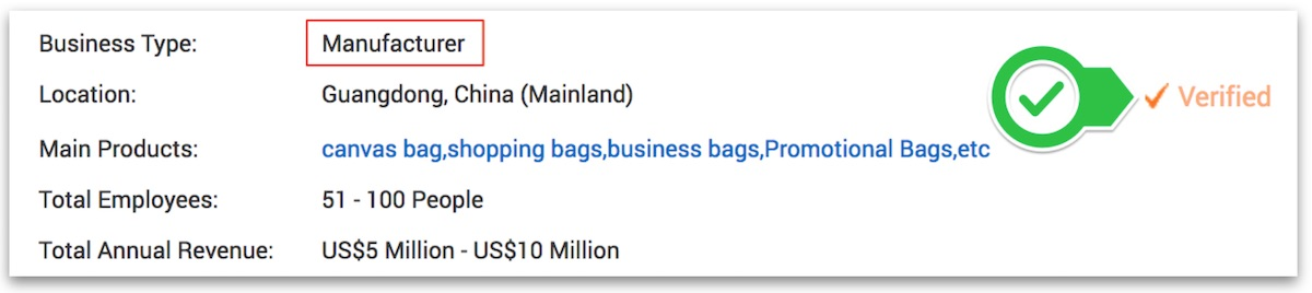 a bag manufacturer's company information page on Alibaba.com