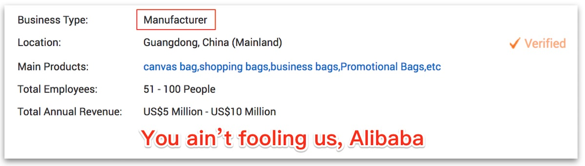 A bag manufacturer's company info page on alibaba.com