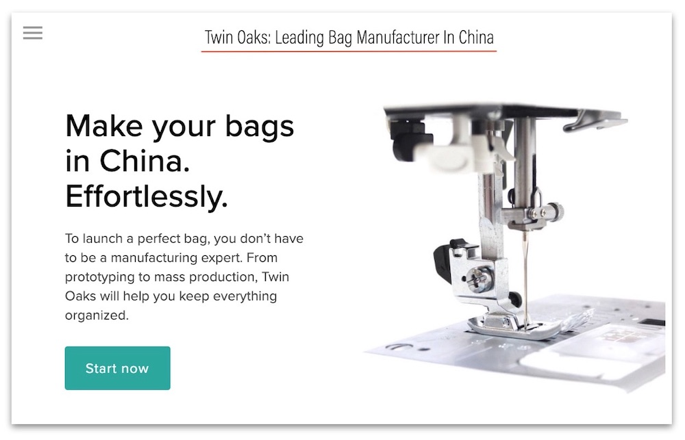 "On the homepage of the official website of twin oaks bags, it reads: ""leading bag manufacturer in China."""