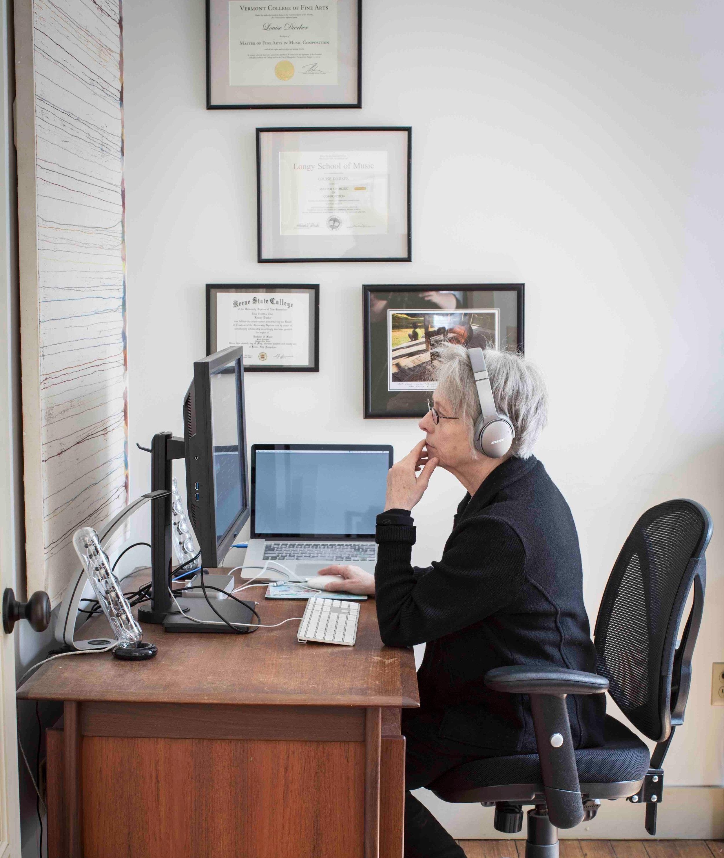 L.A. Dierker in her Harrisville studio (Photo by  Lori Pedrick )