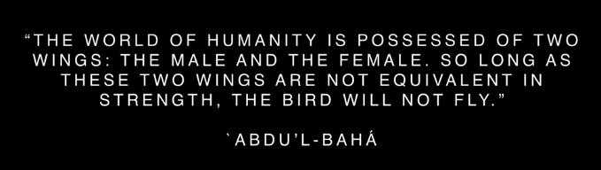 « Le monde de l'humanité possède deux ailes, l'une mâle, l'autre femelle. Si les deux ailes ne sont pas également fortes, l'oiseau ne peut s'envoler. »