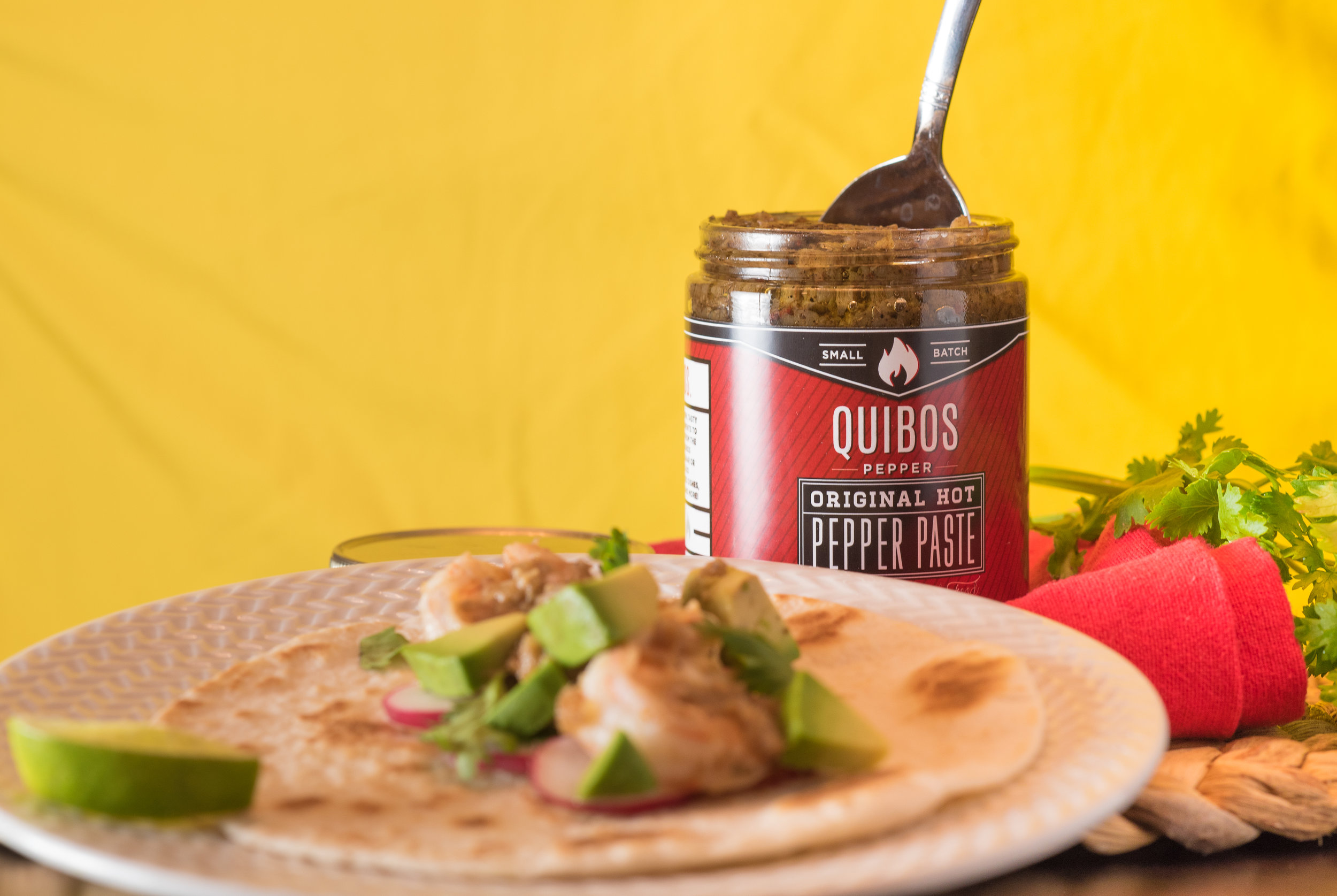 Quibos Pepper Paste Shrimp Tacos - Bring the heat to Taco Tuesday.