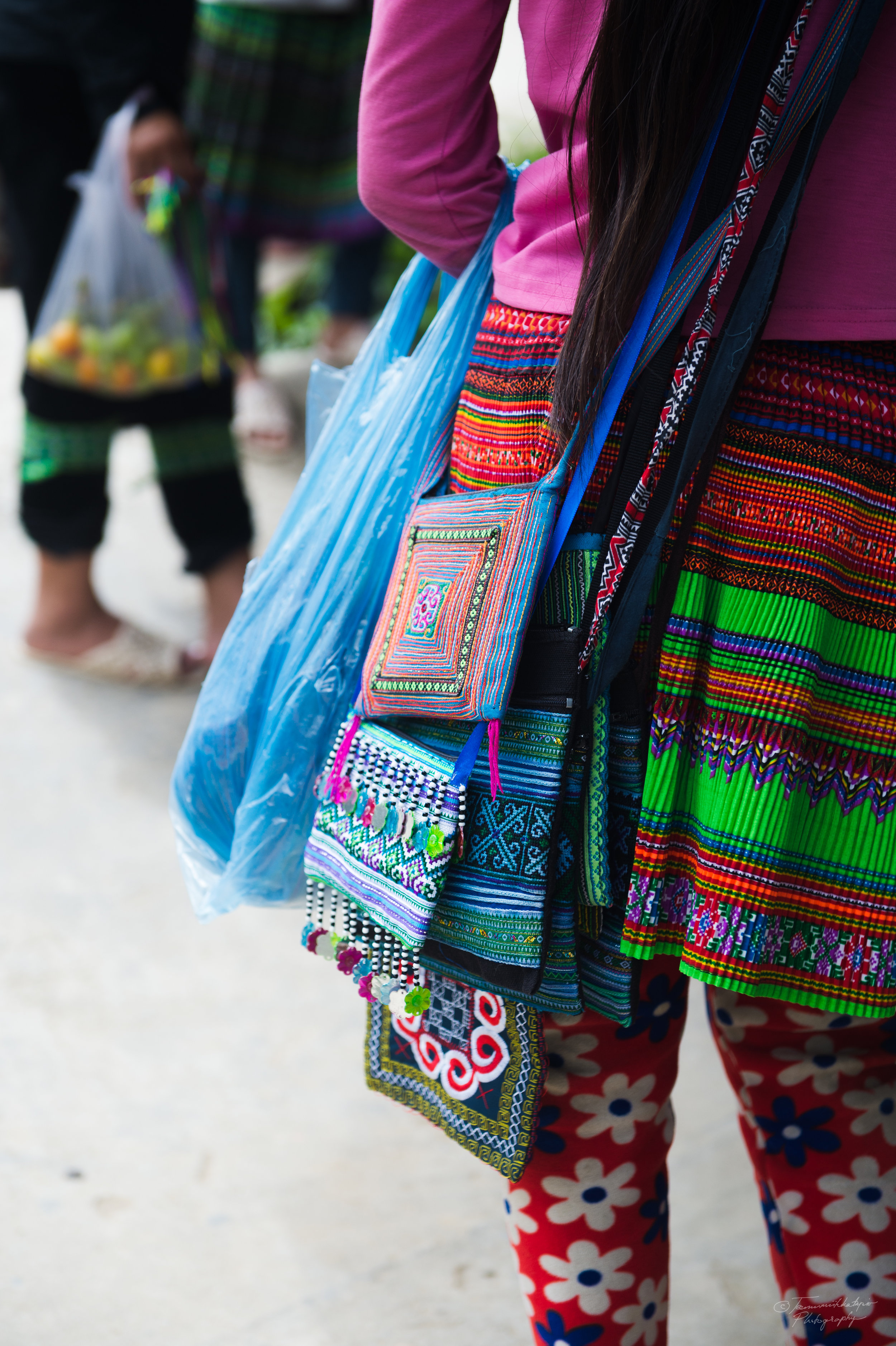 Woman selling her handicrafts.