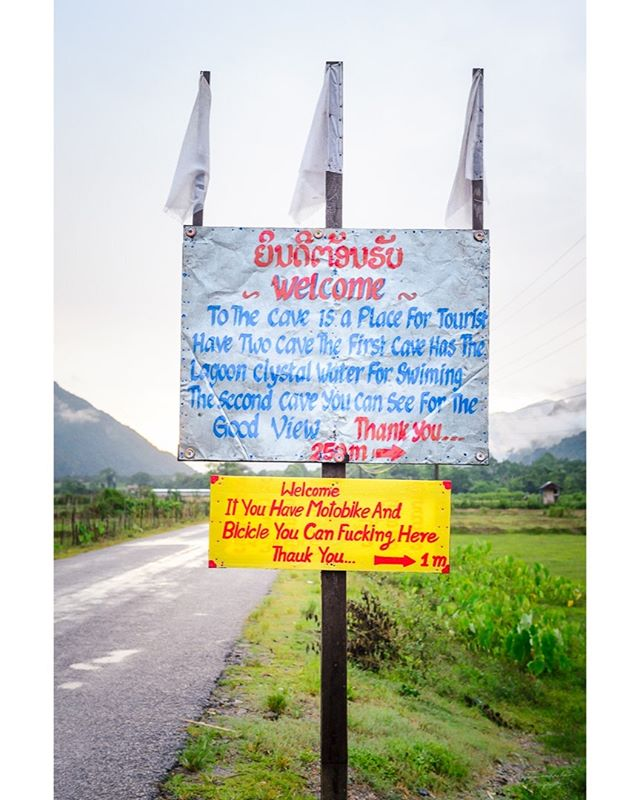 English isn´t my first language so maybe I´m just missing something but am I the only one getting really confused about this sign? I came across this outside Vang Vieng, Laos. #Laos #vangvieng #funnysigns #confused #lostintranslation #exploretheworld #wanderlust #disocoverearth #nikon #nikonshooters #nikonartists #picoftheday #instatravel #travelstoke #travel #travelgram #traveling #travelphotos #worldtraveler #travelasia #passionpassport #lpfanphoto #lonelyplanet #mylpguide