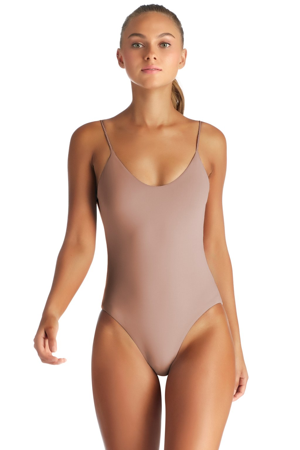 Lilli Bodysuit in U Taupia EcoLuxe by Vitamin A. Made in USA from recycled nylon fiber.