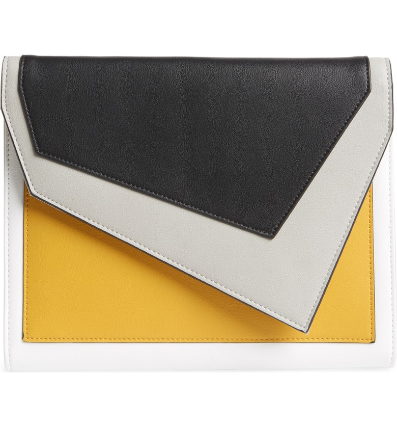 Geometric Color Blocked Clutches - That is a mouthful. We have got our eye on a few vegan clutches with geometric color blocked details. A safe trend piece that is a perfect summer to fall transition item. Bonus: it also brightens up a classic look or pairs well with an on trend mix and match ensemble.