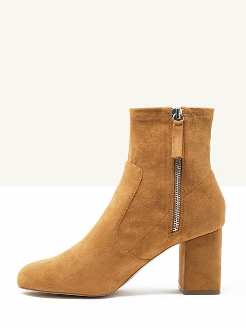 Billie   Camel - $125These dreamy boots come in black or camel vegan suede. We are digging the vintage vibes in the camel though, perfect for the 70's vibes we will be seeing a lot of this fall.