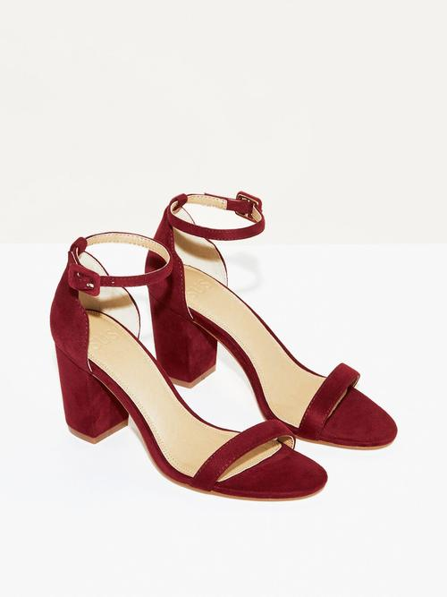 Hey Simone   Burgundy - $135Burgundy vegan suede will be the perfect contrast to fall's animal print frenzy. These heels are a true match for a leopard print slip skirt or jeans and vintage tee.