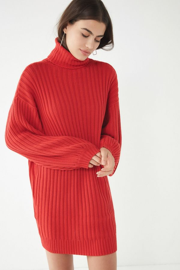 UO Jill Turtleneck Sweater Mini Dress - $69 | More color options available. Vegan oversized sweater dress.