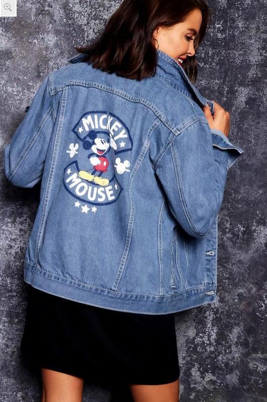 Distressed Mickey Denim Jacket - $70   on sale $28