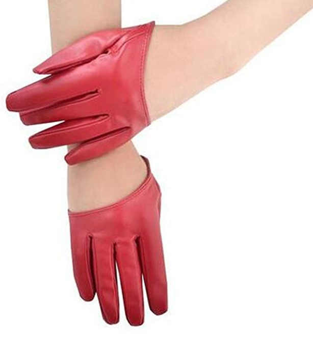 Faux Leather Five Finger Half Palm Driving Party Gloves - $8.99