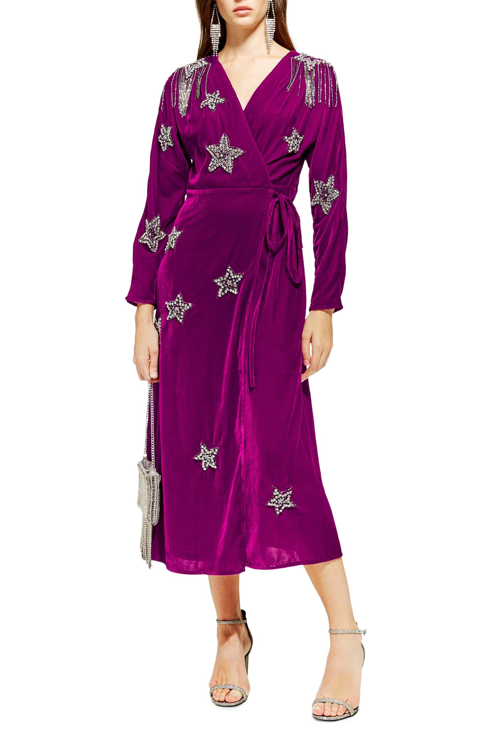 Embroidered Wrap Dress - $190