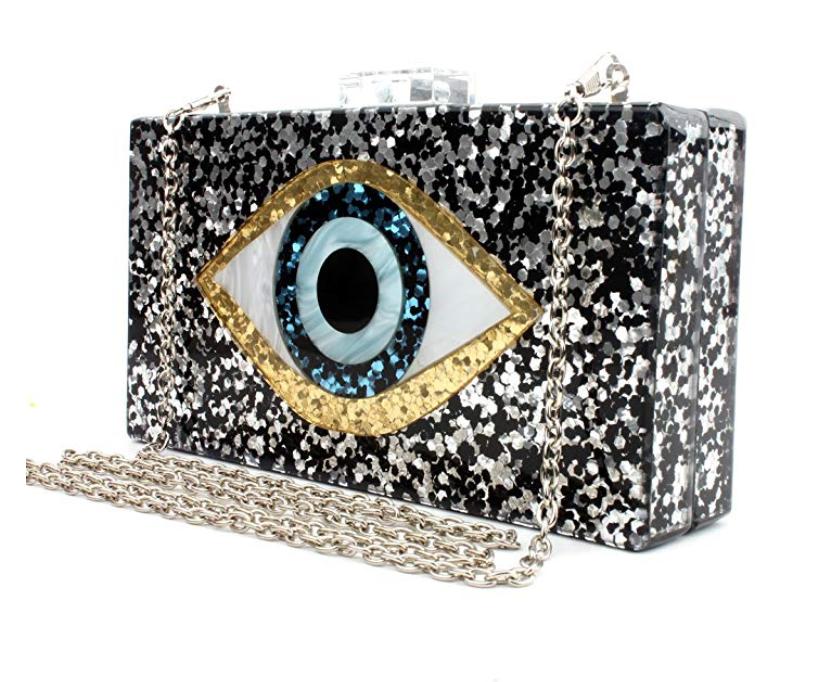 Acrylic Eye Clutch Silver - $23.99