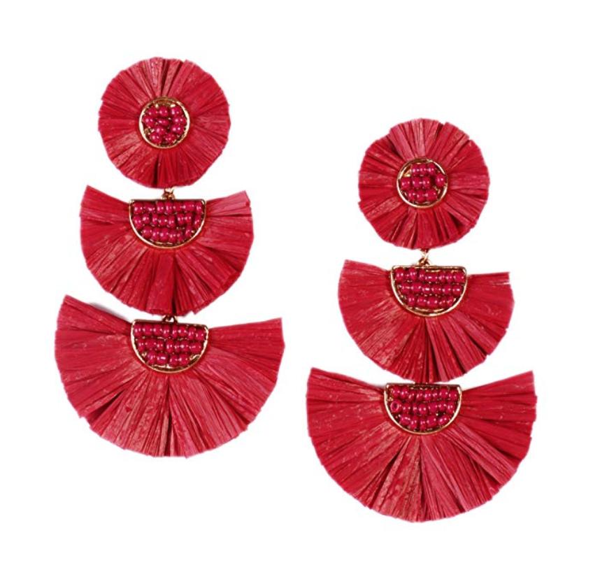 Handmade Drop Earrings Fashion Beaded Raffia Palm Earrings - $10.99 | Burgendy