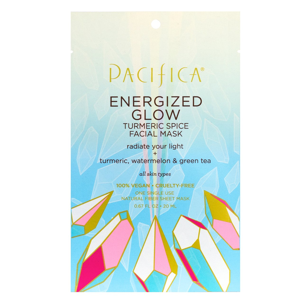 Energized Glow Turmeric Spice Facial Mask - $4 | PacificaRadiate your beautiful light with glowing skin. Pacifica's Energized Glow Turmeric Spice Facial Mask is a multi-targeted mask infused with a rainbow of plant extracts, turmeric spice, green tea and hyaluronic acid along with enzymes to fight dullness and to help boost brightness.