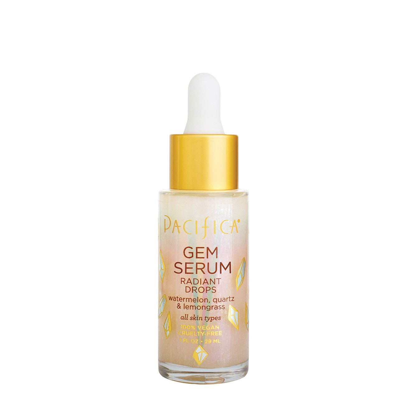 Gem Serum Radiant Drops - $16 | PacificaRose quartz, watermelon and lemongrass come together with graceful mica to boost your skin's aura & glow.