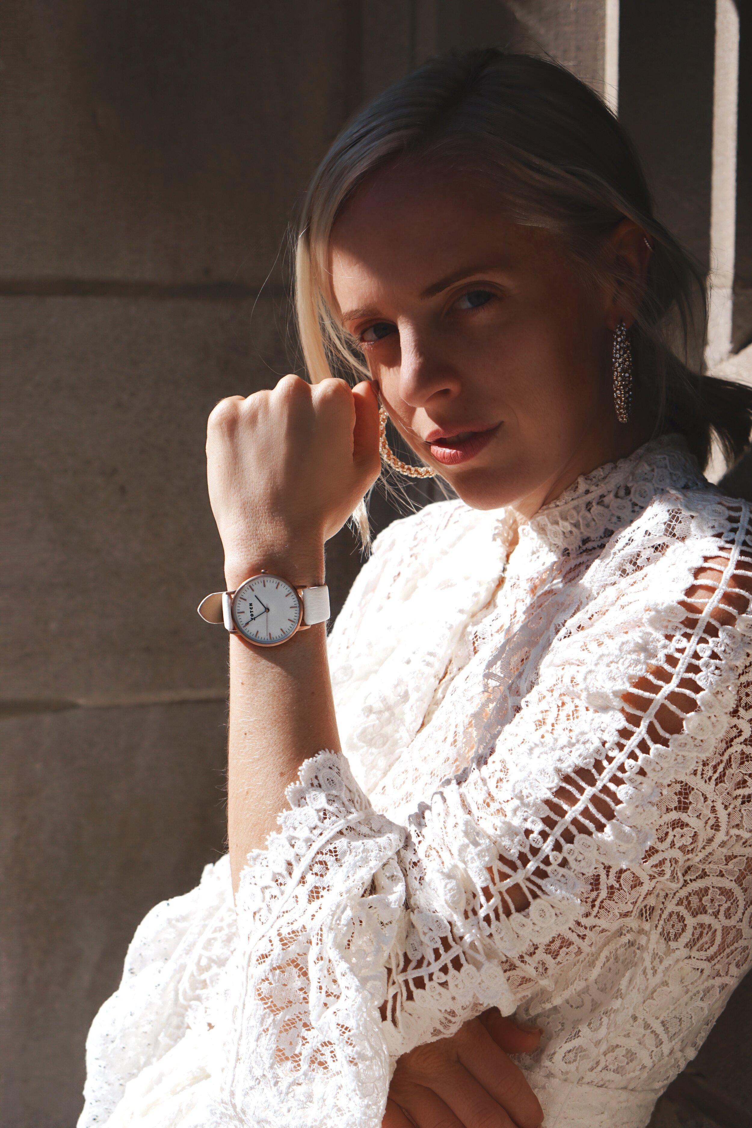 Vegan Watches, cruelty-free fashion, Sararose Krenger, white lace dress