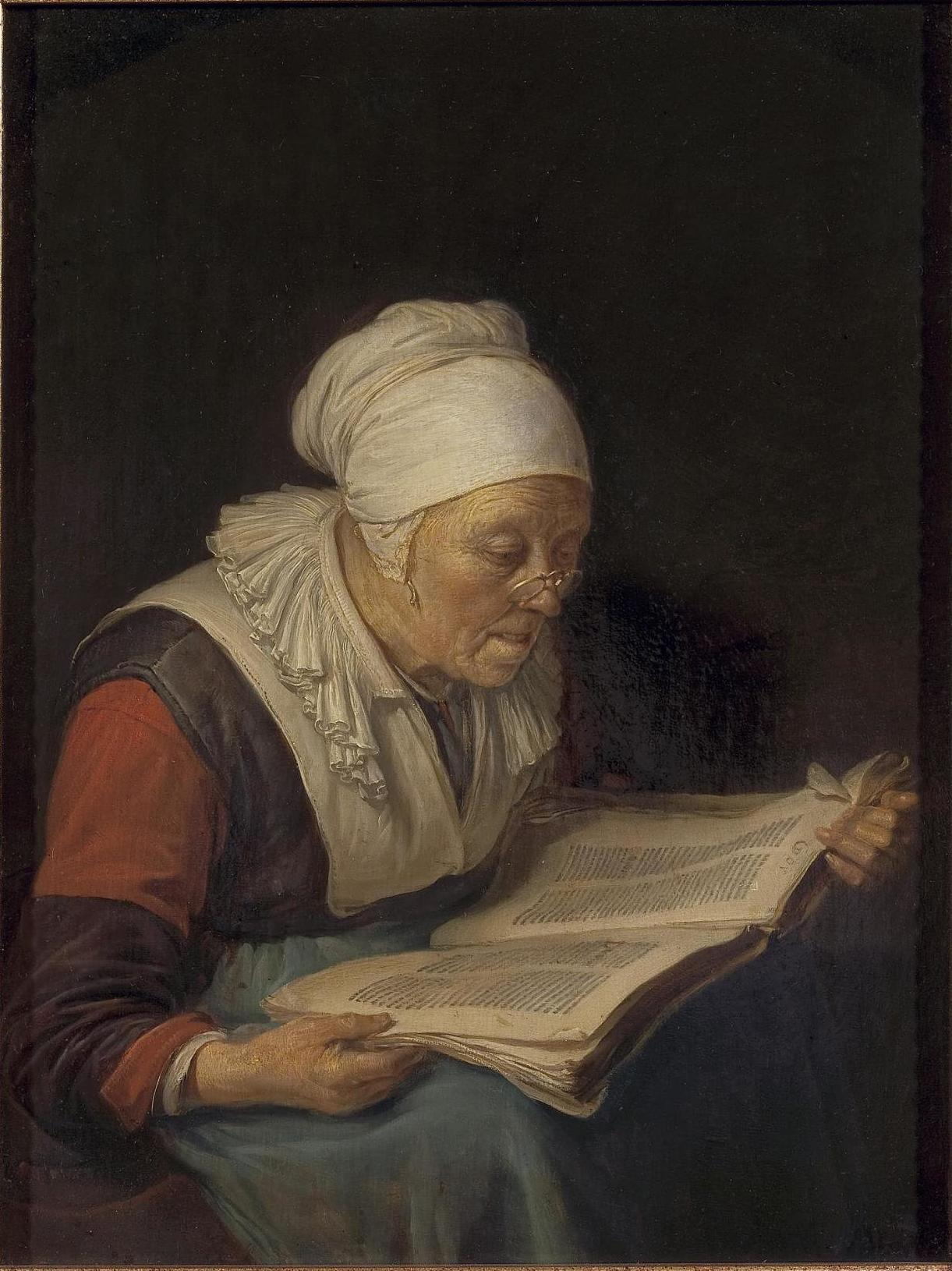 Gerard Dou,  Old Woman Reading A Book , c 1660-1665, oil on panel, Hermitage Museum