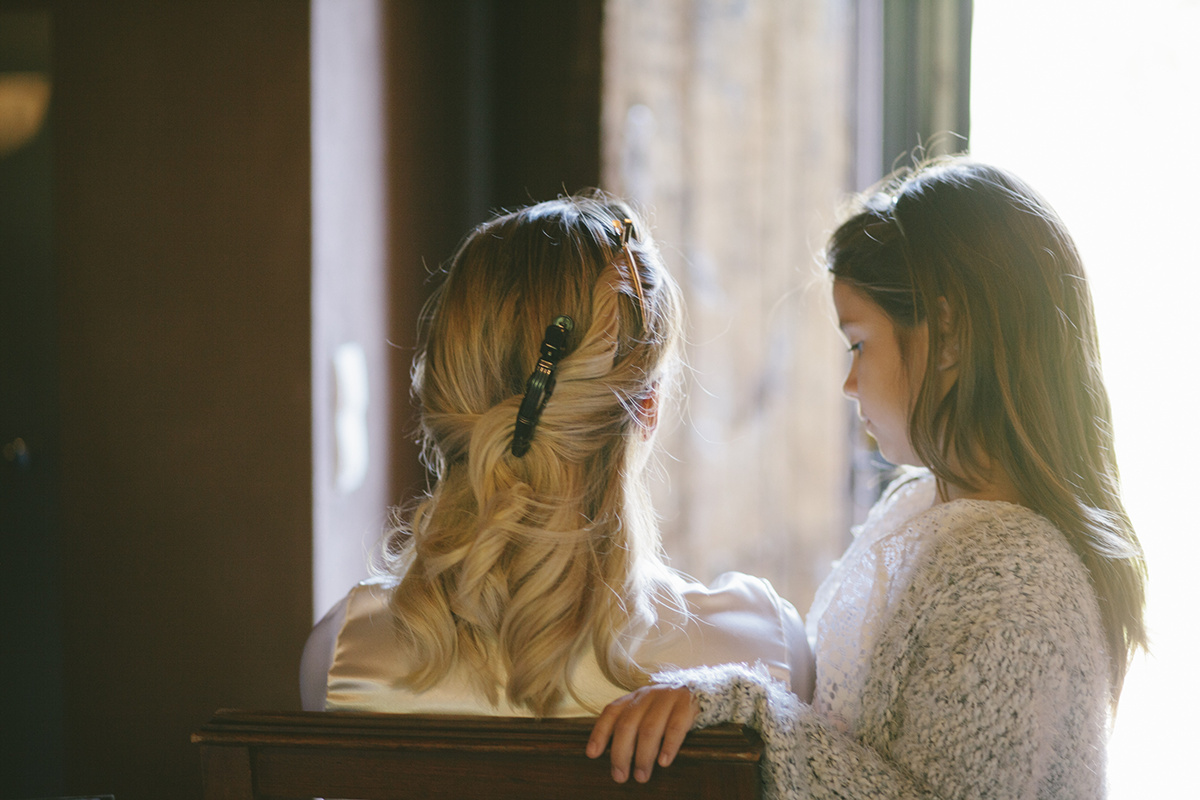 Mother and daughter before the wedding