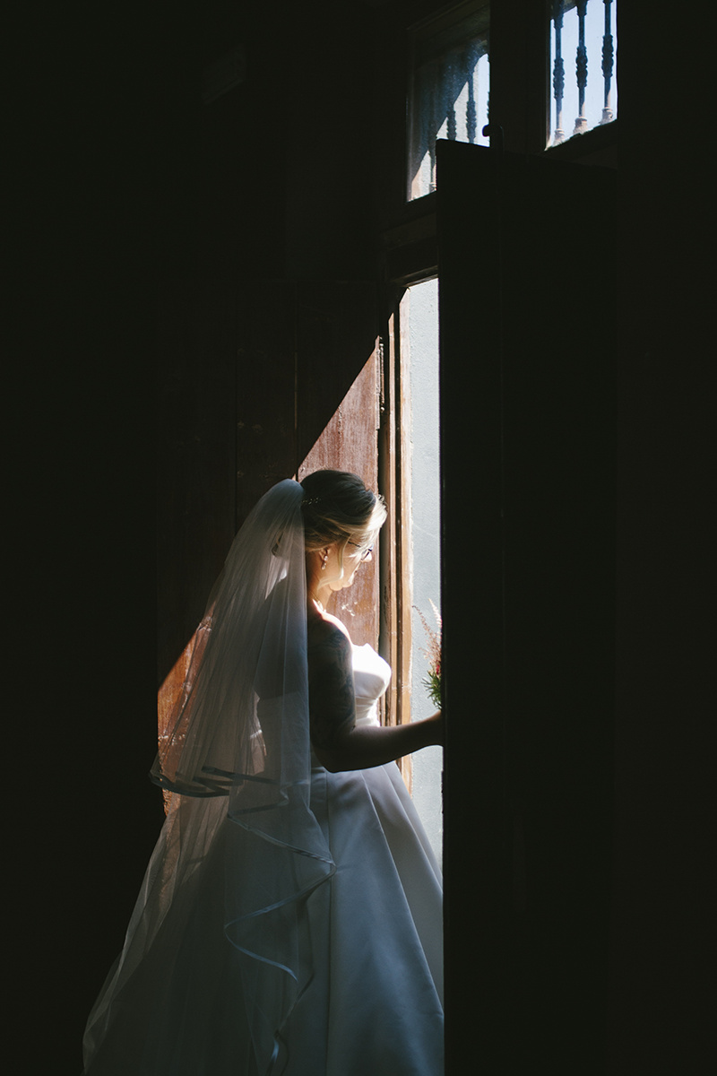 Light and shadow portrait of the bride