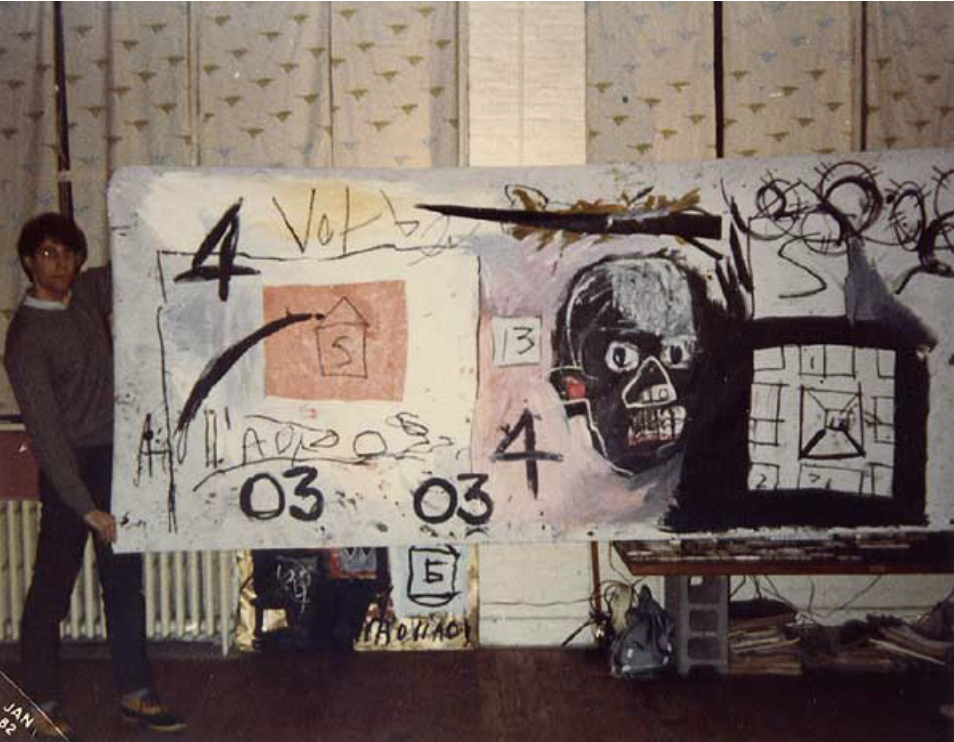 Gregory Linn viewing works of Jean-Michel Basquiat with Diego Cortez, New York, January 1982.  © 2019 linn press.