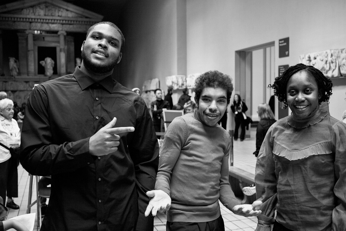 #22 / 30 - 'Coming to Kick Up means I am part of a diverse crew of people with lots of aspiration and creativity'- Fabian Ofori, Kick Up DancerImage of Fabian, DJ and Sherri at British Museum's Lottery Big Draw Project Photo by @joncarchdeacon