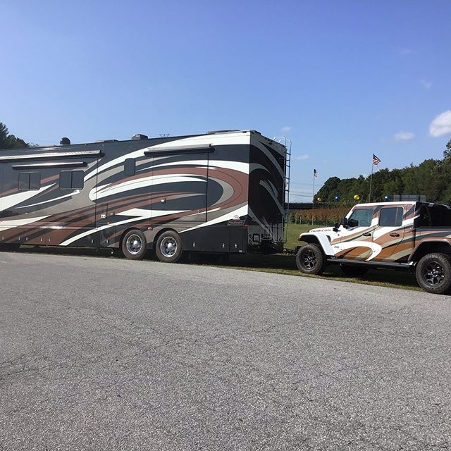 Looking for a unique wrap on a vehicle ...to match your motor coach?  Yes, we can do that!  #motorcoach #vehiclewraps #jeeprubicon