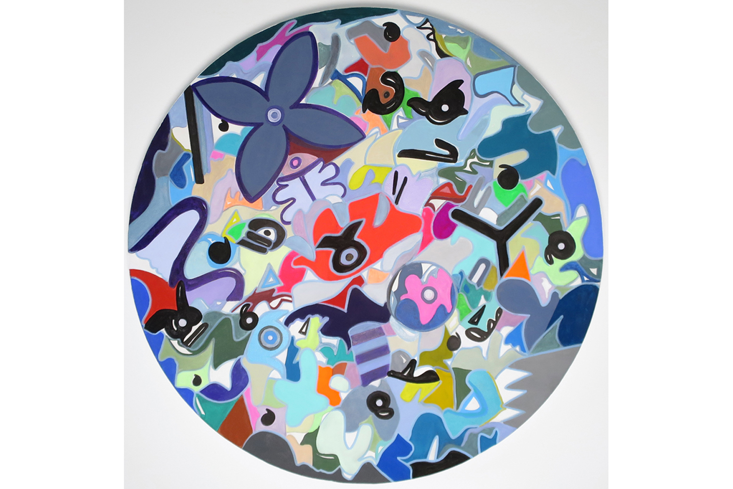 David Gaither  No Way Out / Better Double Up , 2017 Acrylic, gouache, composite paints and solid paint markers on panel 24 inch diameter (61 cm diameter)