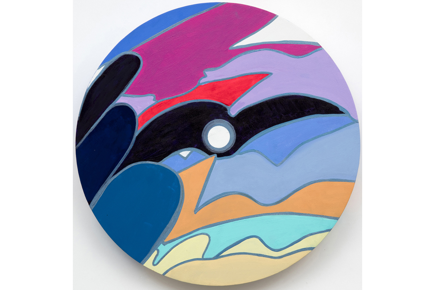 David Gaither  The Colourwheel/Colourdisc Series: Construct #9,  2017 Acrylic, gouache, composite and solid paint markers on panel 16 inch diameter (40.6 cm diameter)
