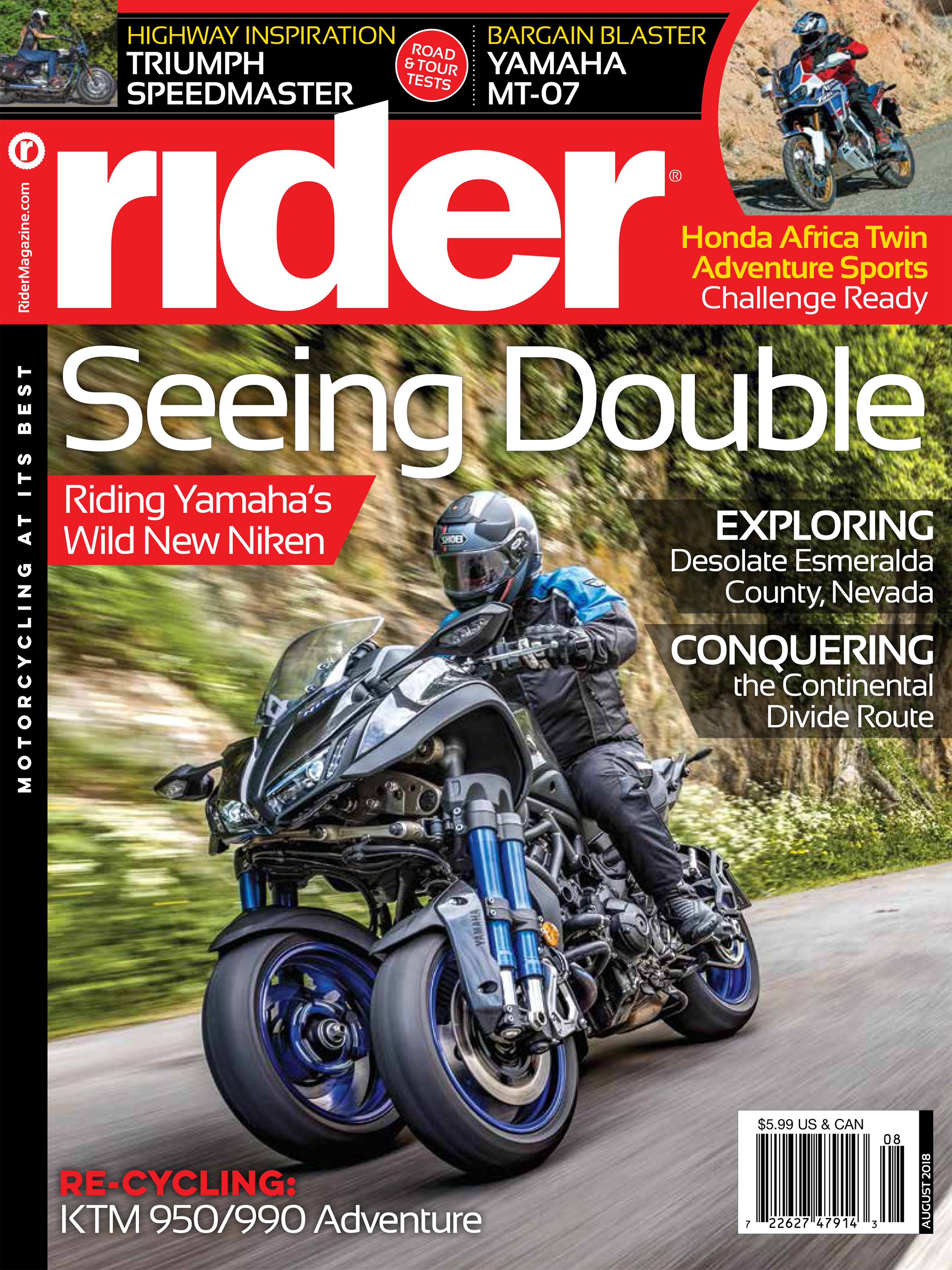 COVER: RIDER MAGAZINE AUGUST 2018