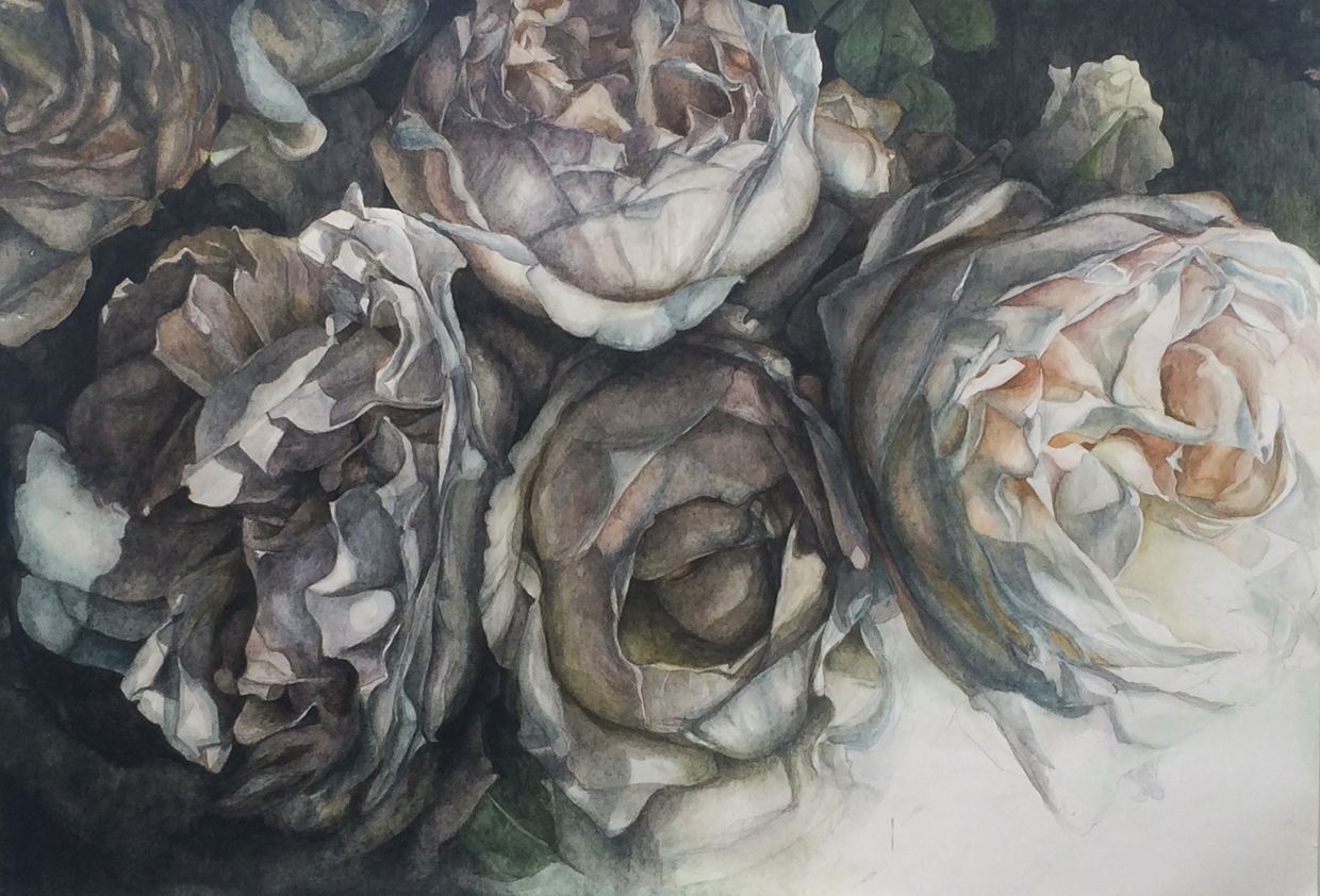 """Flowers No. 3 , watercolor and pencil on paper, 32"""" x 48"""" (2015), private collection"""