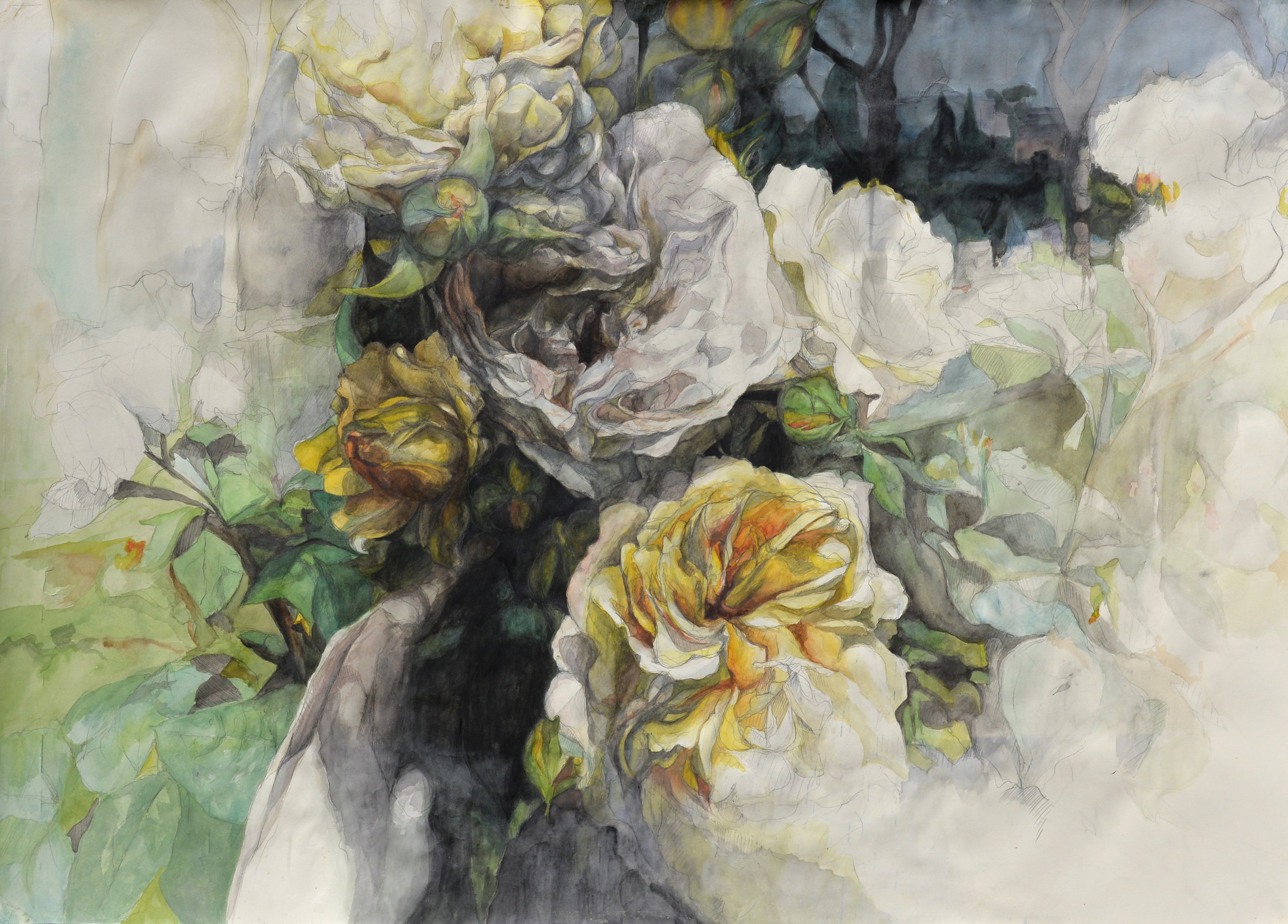 """Flowers No. 2 , watercolor and pencil on paper, 32"""" x 48"""" (2014)"""