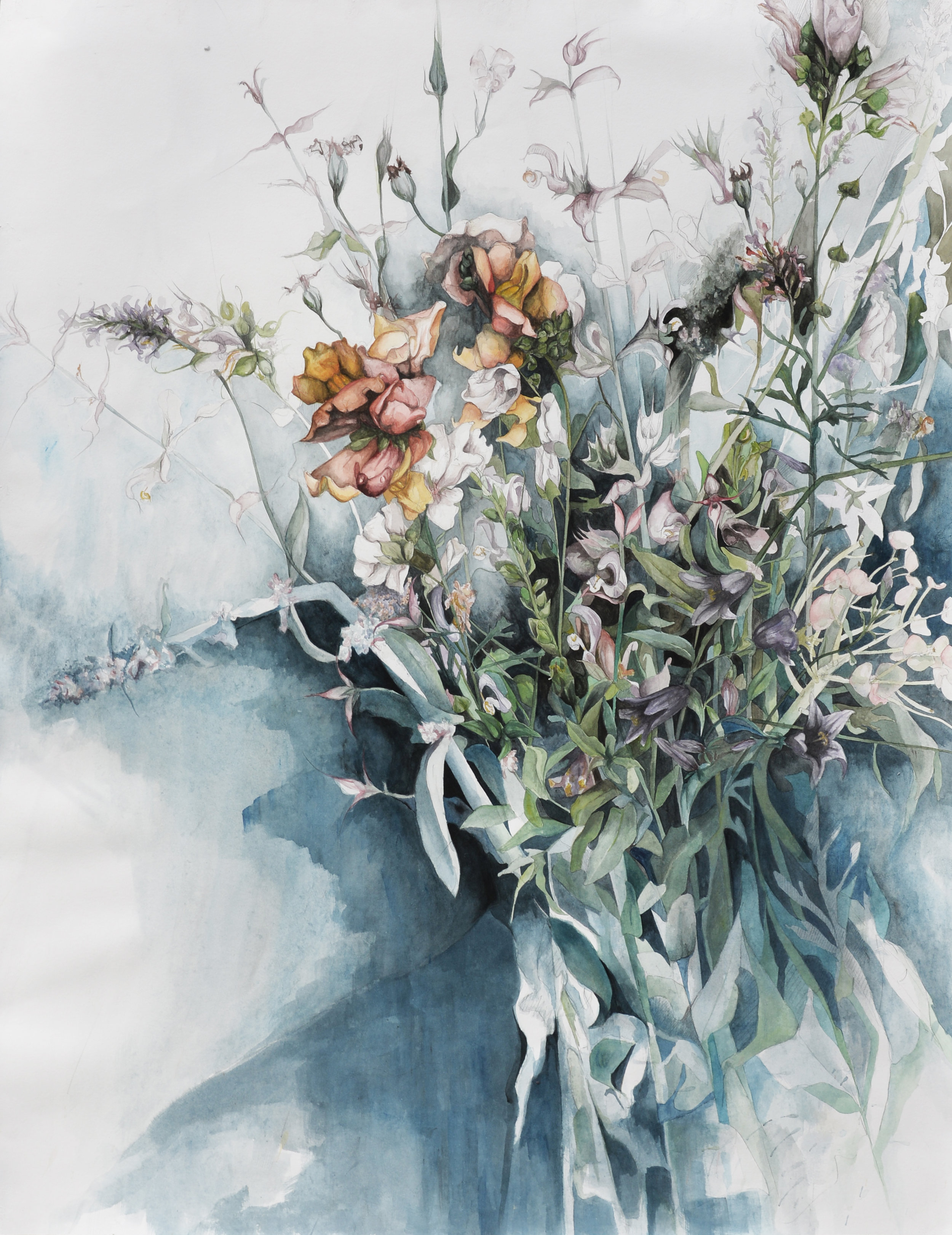 """Flowers No. 8 , Watercolor and pencil on paper, 38"""" x 50"""" (2017)"""