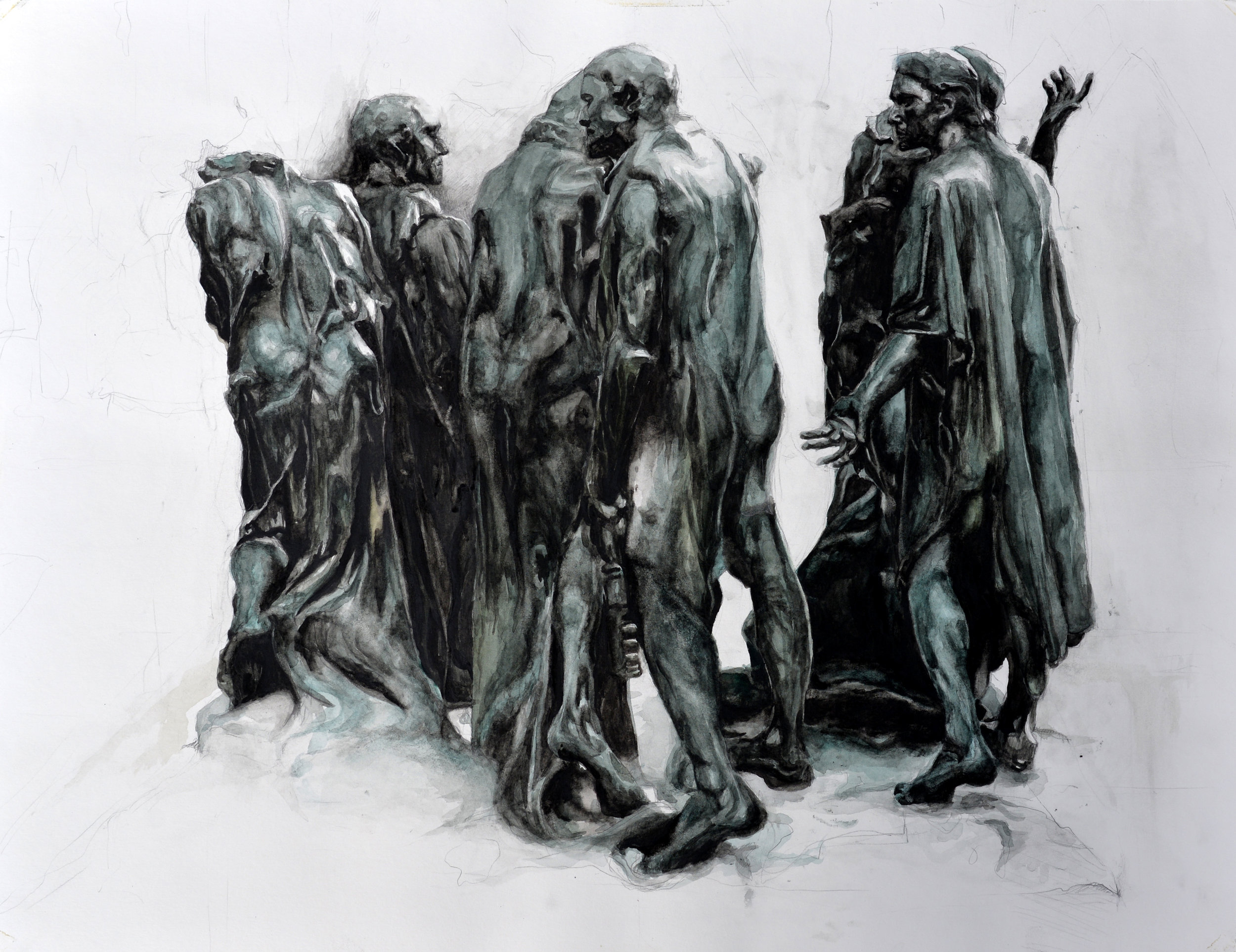 """Auguste Rodin's  The Burghers of Calais  (1884-1889), drawn from the bronze cast at the Rodin Museum in Paris, France. Watercolor and pencil on paper, 23"""" x 32"""" (2013)"""
