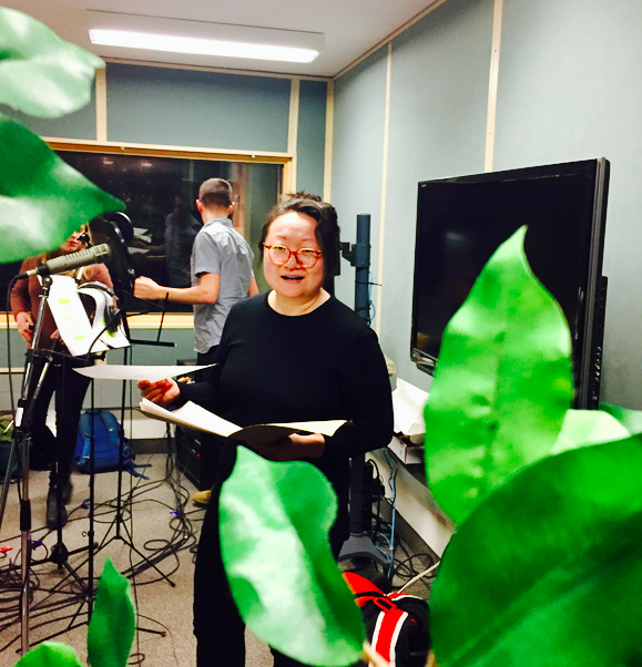 Amy Fung  in the studio voicing the Immortal Sentient Plant (Season One, Episode 5)