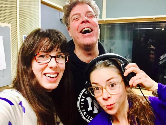 Maggie, Keith Cole, and Laura Barrett in the studio voicing Season One