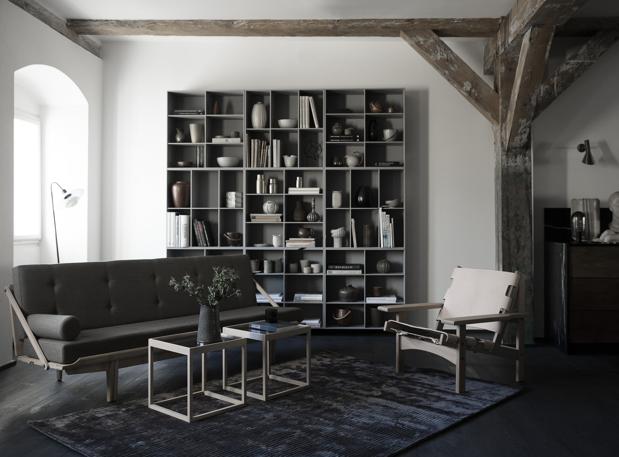 Klassik Studio The Hunting chair photographed with the PV Daybed by Poul Volther and the KØ Cube.