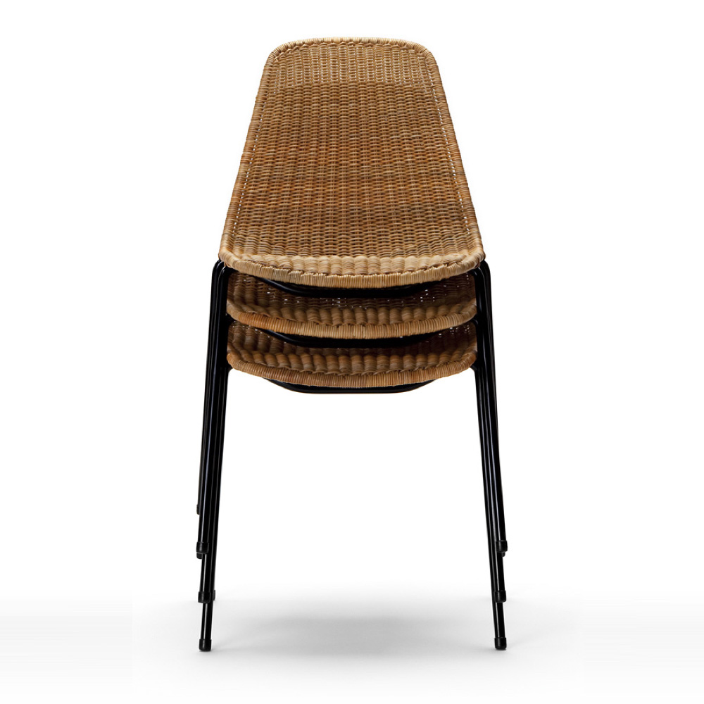 The Basket Chair is stackable 6 high