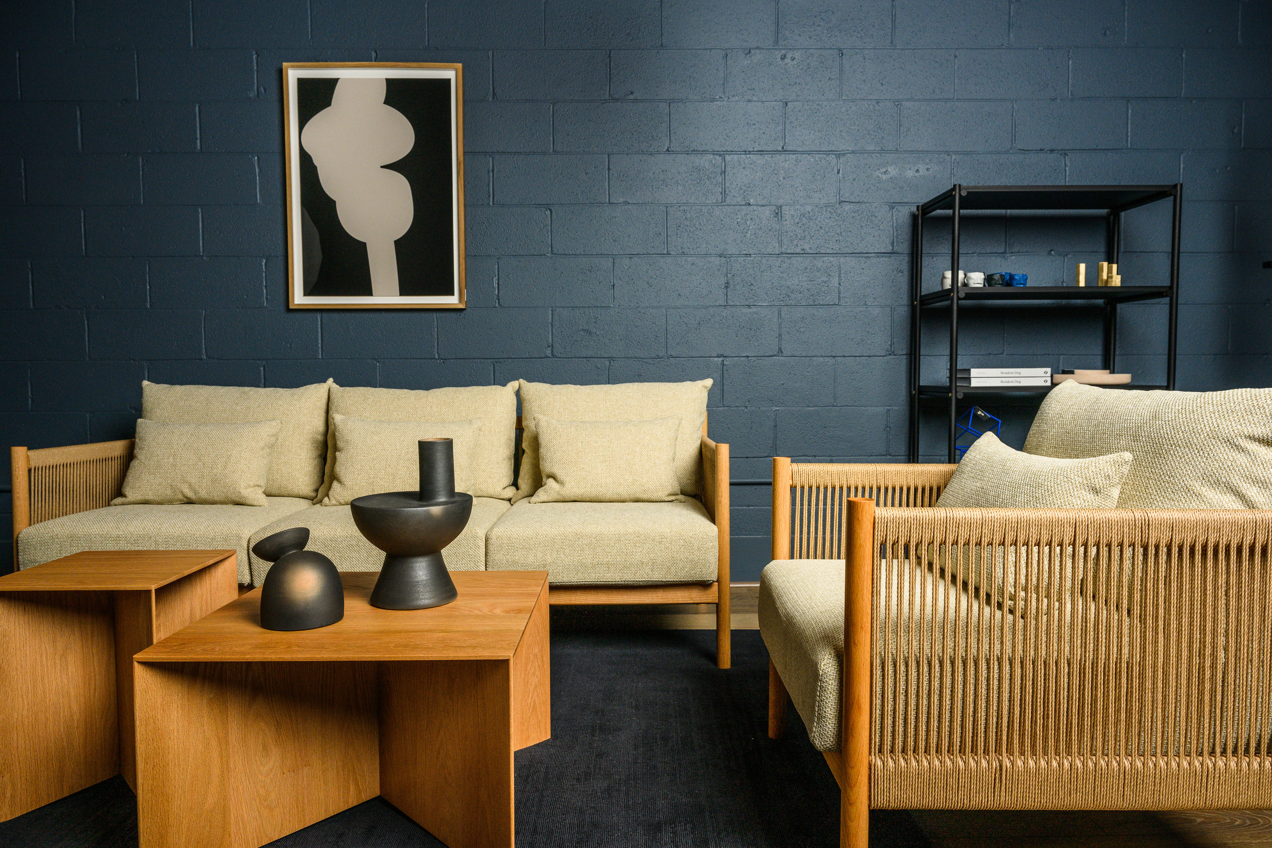 The Ariake Braid Sofa and Lounge Chair designed by Norm Architects and the Paperwood coffee and side tables by Anderssen & Voll for Ariake.