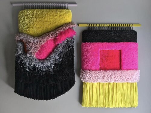 Judit Just - Judit Just is a textile artist raised and born in Barcelona, Spain, but she currently lives in Asheville, North Carolina where she moved in 2013 and where she develops her textile's brand, known by Jujujust. She studied fashion design, sculpture and textile art, where she specialized in weaving and embroidery. She grew up surrounded by textiles and actually learned weaving craftsmanship through her mom when she was little.She takes some old weaving techniques and gives it a twist using vibrant color combinations and a bunch of beautiful vintage threads.