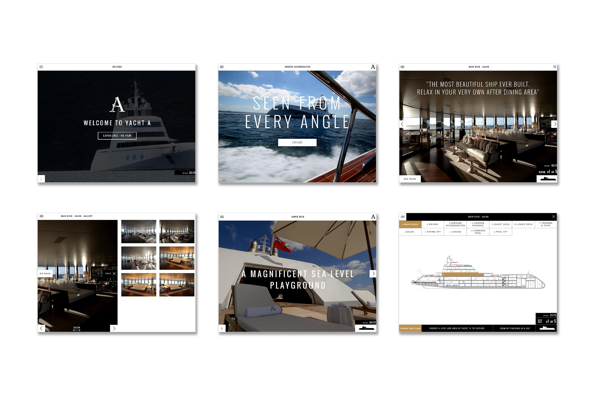 superyacht app screens