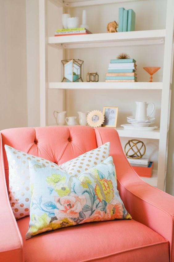 Style Me Pretty | coral peach chair with floral pillow, Pantone blooming dahlia, salmon pink