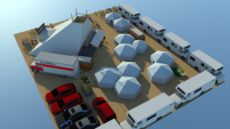 Camp Planning - Use RVs, Cars and other Camp structures to make walls around your tent to protect against the wind.