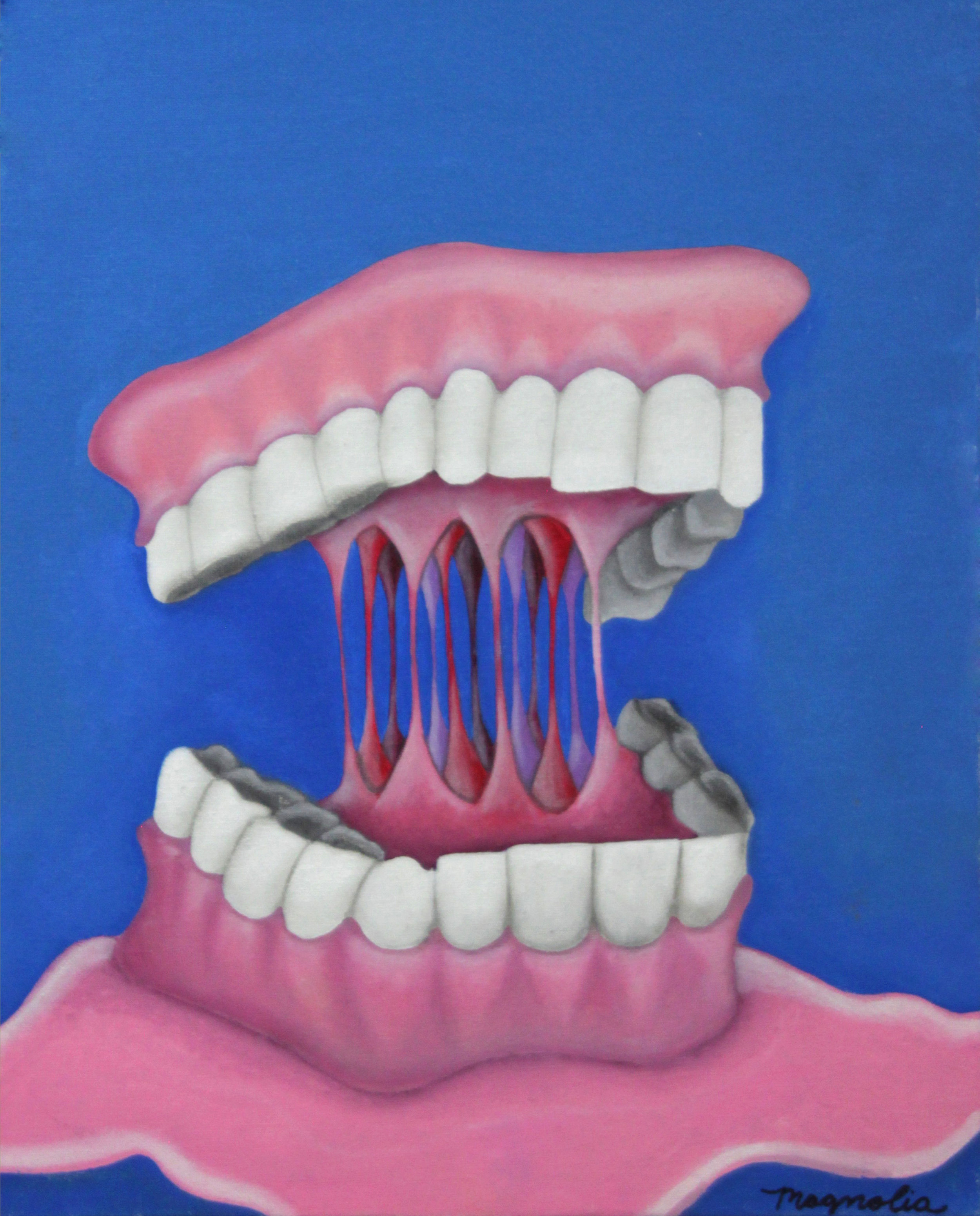 "Grandpa's Dentures , 2015  Oil on Canvas  11"" x 14"""