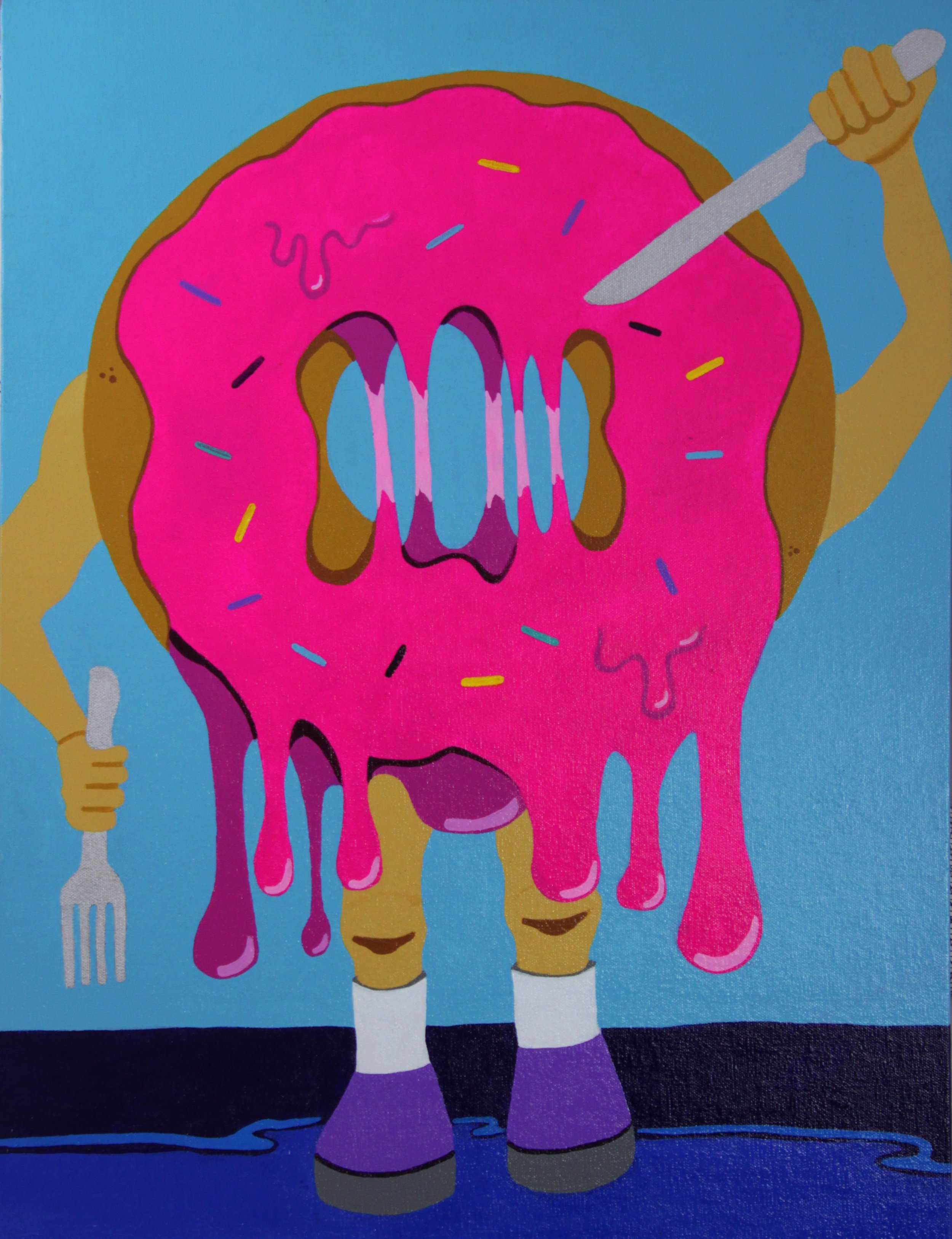 "The Revenge of the Donut , 2015  Acrylic on Canvas  18"" x 24"""
