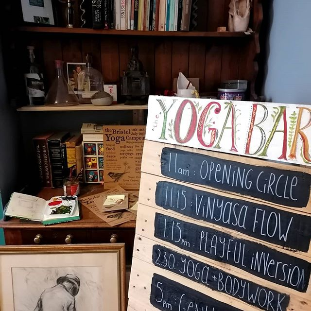 Yoga Barn is back for summer!.. . .  So this is when we pretend we have staff and a studio and it's not just us painting signs in our living room. 🎨😉 . Full schedule up at the yogacampout.com with @ashley4yoga @aliceholmesyoga @medicyogi @superyogiuk @yogagladey19 @jade_hallie and maaany more. Even music by the wonderful @faelandmusic after supper 🎶❤️. . Still tickets left - Yoga Barn is just one of 5 areas of this mini yoga fest (more DIY signage to follow) Xx . . #yoga #yogafestival #camping #nature #diy #bristol