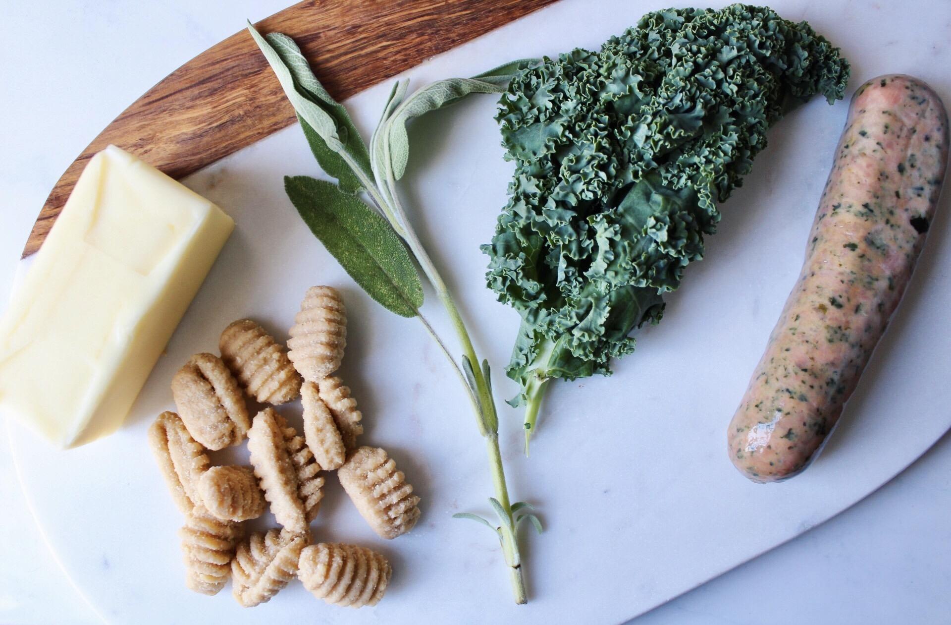 ingredients for sweet potato gnocchi, sausage, and kale