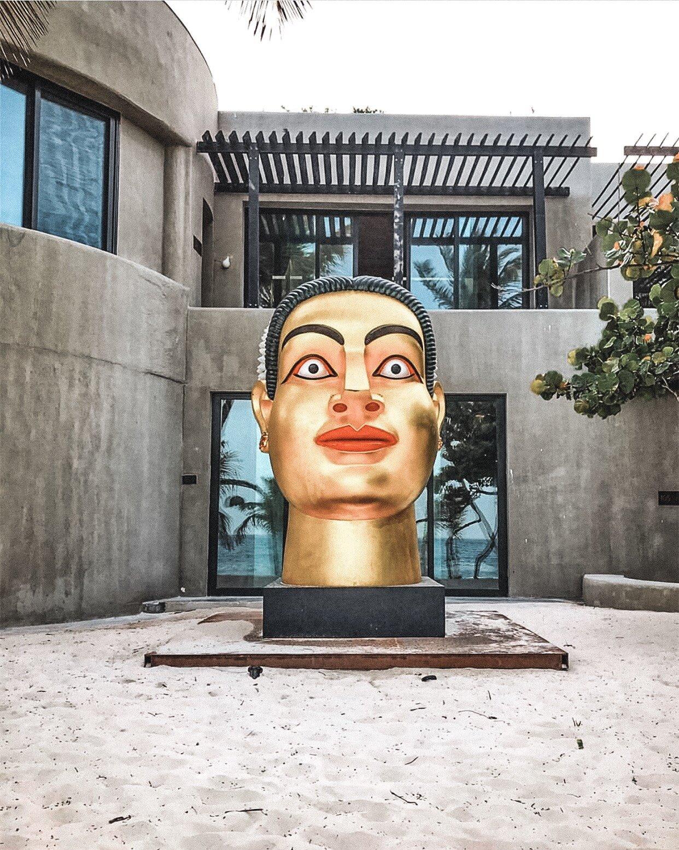 Frida Kahlo giant head at Casa Malca